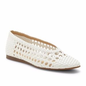 NEW Lucky Brand Chalenti Leather Woven Flat